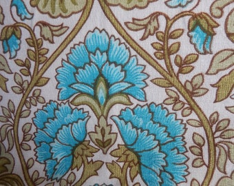 Vintage Fabric c 1960s, Material, Blue floral Patterned, Vintage Cotton Fabric, Peice of Material