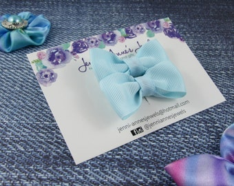 Bow Tie Hair Clip - Set of 2 - Light Blues/Aquas