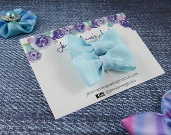 Bow Tie Hair Clip - Set of 2 - Light Blues/Aquas