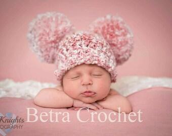 Baby Girl Pom Pom Hat, Double Pom Pom Hat, Photo Prop Hat, Sizes Newborn - 4T , Made By Order