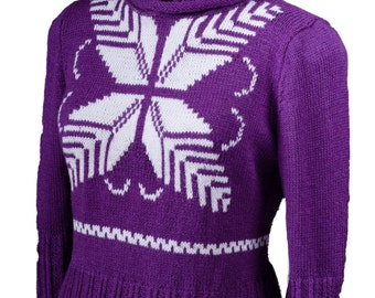 Hand knit womens sweater Ornamental pattern hand knitted pullover sweater for woman Cropped sleeves Made to order