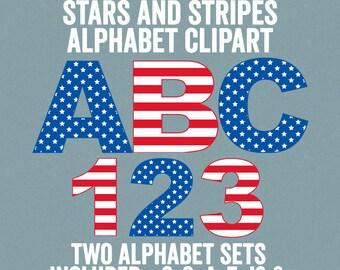 Stars and Stripes Alphabet Clipart, USA Flag Letters Clipart, USA Red White Blue Letters Clipart, Commercial Use, American Alphabet Clipart