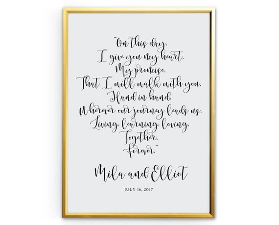 Calligraphy wedding vows printable modern by