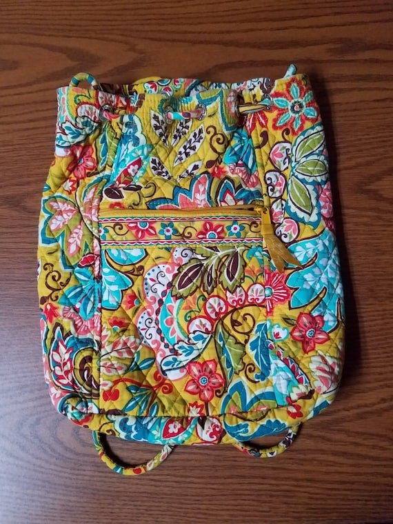Vera Bradley Drawstring Bag with Zippered Front Pouch!