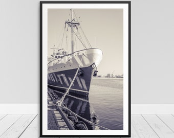 Old Ship Print, Retro Marine Print, Retro Boat Print, Harbor Photograph, Sail Ship Print, Coastal Themed Decor, Marine Print