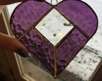 Purple Heart with Glass Bevel