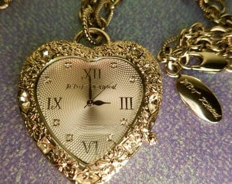 Betsey Johnson Iconic Heart Watch Necklace in silver tone & bling *RARE* In EXCELLENT condition!