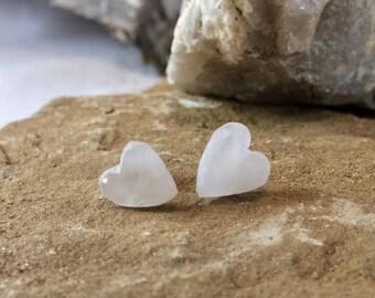 Heart Shaped Milky White Quartz Stud Earrings.