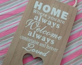 Home Sign ~ Hanging Shabby Wall Plaque