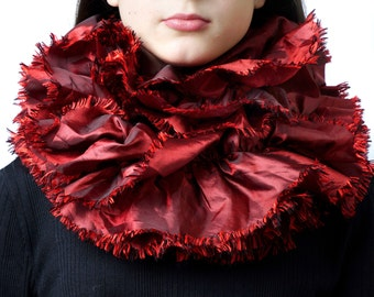 Infinity scarf, red tube scarf, snood, loop scarf, ruffle scarf, women's tube scarf, ladies scarf, two tone fabric,
