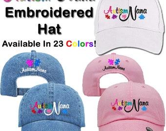Autism Nana Baseball/Dad Cap, Hat, Autism Gifts, Autistic, Spectrum, Sportswear