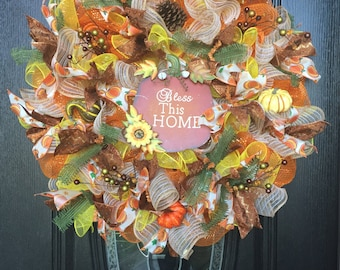 Bless this Home Fall Wreath