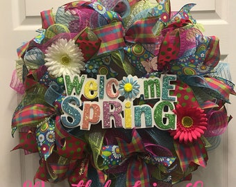 Welcome Spring Wreath - Spring deco mesh wreath - welcome wreath - spring wreath
