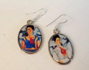Frida Kahlo Earrings Frida Kahlo Drop Earrings Las Dos Fridas Frida Kahlo Jewelry Earrings Handmade Dangle Earrings Mexican Jewelry