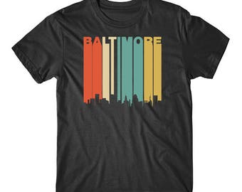 Vintage Retro 1970's Style Baltimore Maryland Downtown Skyline T-Shirt