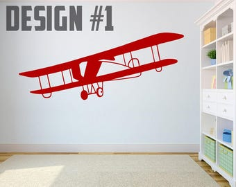 Kids Jets and Airplanes - 5 Designs - Vinyl Wall Decals - Multiple Colors