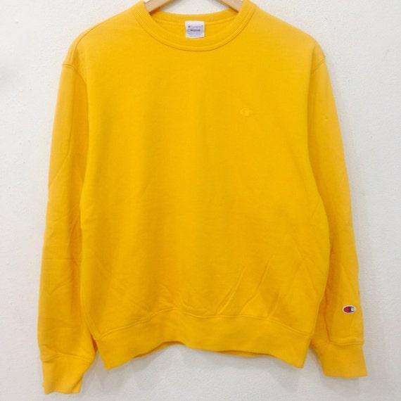 Vintage CHAMPION Small Logo Crew Neck Pullover Sweatshirt Yellow Colour Medium Size Rare