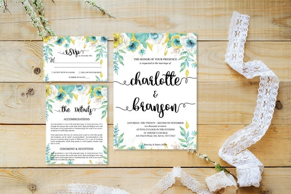 Flower wedding invite_22,Printable Wedding Invitation Suite,Wedding Invite Set,Wedding Printable,Calligraphy