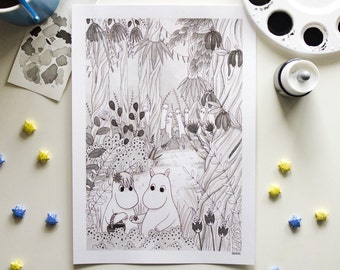 Moomin - original art - ink illustration - Moomintroll, Snork Maiden and Hattifatteners in a forest