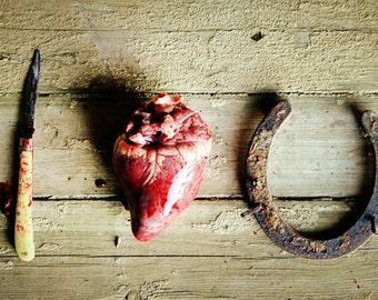 I Love You Knife Heart Horseshoe Blood Photograph Print art macabre creepy