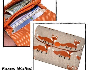 Womans Wallet Foxes, Small Wallet for Women,  Business Card Holder, Credit Card Holder, Mini Wallet Fox, Handmade Fabric Wallet, coin purse
