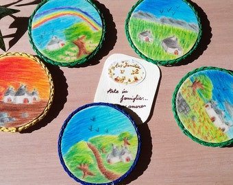 Wooden magnet set with landscapes of Trulli in color (5 pieces)