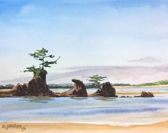 "Oregon coast watercolor art print - 8x10"" ocean painting, Four Brothers sea stacks at Siletz Bay, coastal beach decor, Pacific Northwest art"