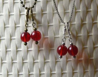 Hibiscus Czech Glass Dangle Earrings