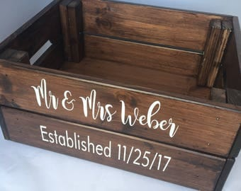 Rustic wedding keepsake box, personalised handmade wedding box, wedding crate, wedding storage, wedding card storage, rustic box storage