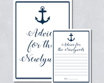 Bridal shower game / Nautical navy blue / Anchor / Beach themed / DIY Printable / INSTANT DOWNLOAD