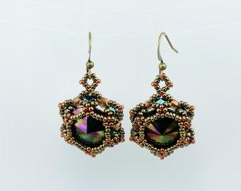 SALE! Swarovski scabaeus green crystal earrings, Dangle earrings