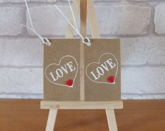 love gift tags x2, valentines day tags, any occasion gift tags, red and white