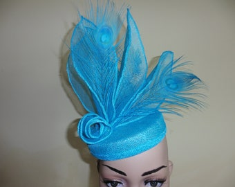 Turquoise Wedding Hat,Turquoise Race Hat, Turquoise Ascot Hat,Hat With Feathers, Pillbox Hat,Fascinator,Fascinators,Harlequin Hats,Percher