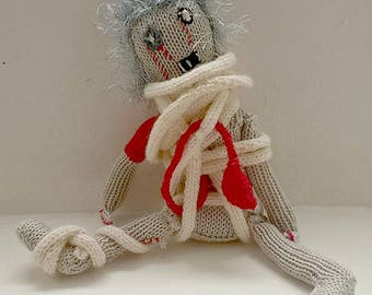 Hand Knitted 'Ed' Mummy Zombie Walking Dead Perfect Gift For Him Her Living Dead Horror One Of A Kind Unique