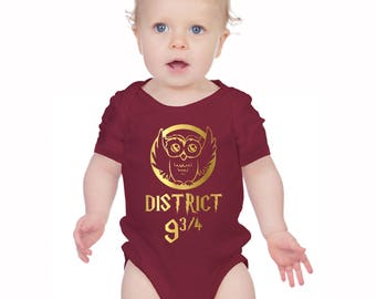 Harry Potter and Mockingjay inspired burgundy bodysuit onesie with owl and district 9 and 3/4