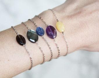 Bracelet silver chain 925 smoky quartz / silver bracelet / natural /pierre / fine gemstone jewelry