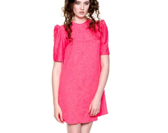 Handmade Pretty Fuchsia Embossed Dress with Zip at the Back