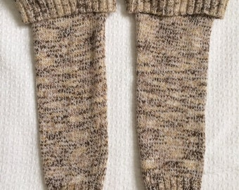 Brown and Cream Handsewn Leg Warmers