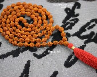8mm Rudraksha Mala 108+1 Beads with long Red Tassel Hindu Yoga Meditation Rudraksha Mala