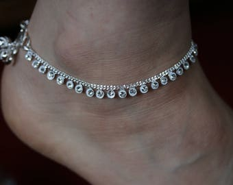 Stunning Diamante Anklet - Bollywood Indian wedding Payal - Diamonte foot ankle chain bracelet- Indian Bridal Payal with bell - Anklets pair