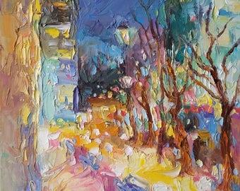 Original oil painting,landscape, cityscape, Montreal, place Alexis-Nihon