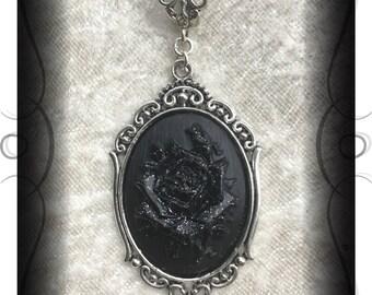 Rose pendant choker necklace victorian gothic lolita