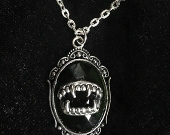 Gothic necklace pendant vampire, dance of the vampires, dentures, Vampire fangs, Baroque, victorian