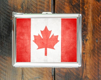 cigarette case FLAG CANADA country vintage style wallet card money holder cigarettes box