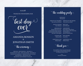 Printable Wedding Program Navy Blue - Editable Template - Navy Blue Wedding Decorations - Navy Blue Wedding - Downloadable wedding #WDH0142