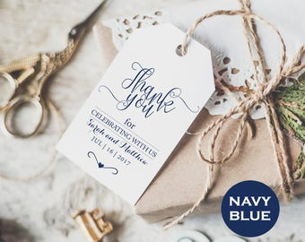 Navy Blue Wedding Thank You - Editable Thank You- Printable Wedding -Wedding Favor Tags -  Downloadable wedding #WDH8121097