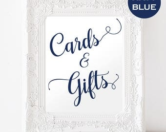 Cards and Gifts Sign - Navy Blue Wedding - Wedding Sign - Wedding Sign Printable - Downloadable wedding #WDH812127