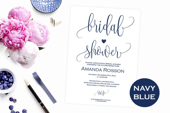White and blue navy bridal shower invitation - Printable Navy blue bridal shower - Navy blue wedding - PDF Instant Download #WDH0096