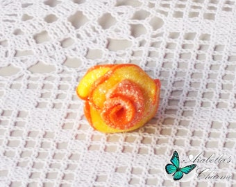 Ring with flower, rose yellow and orange made with polymer clay
