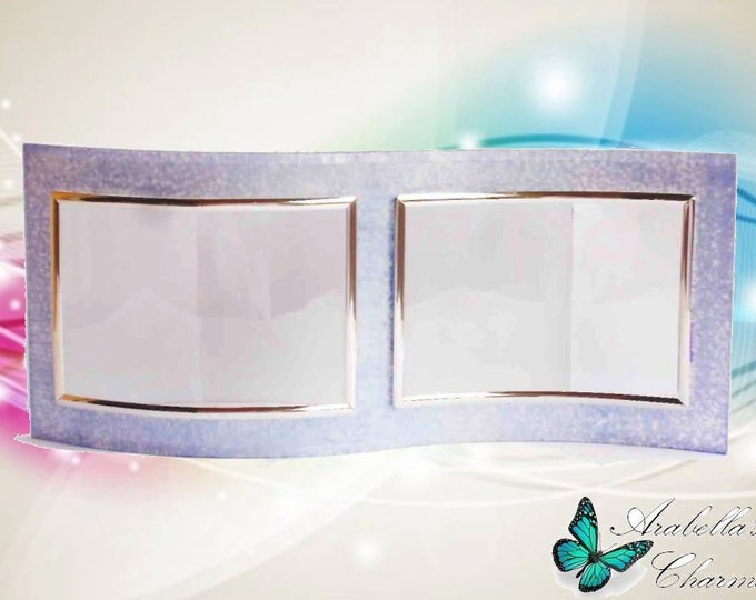 Frame in crystal decorated with brilliant rough clay color lilac